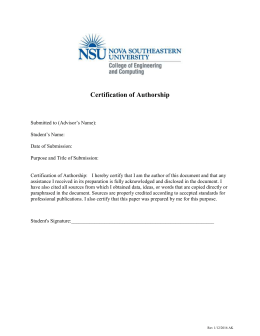 Certificate of Authorship - Nova Southeastern University