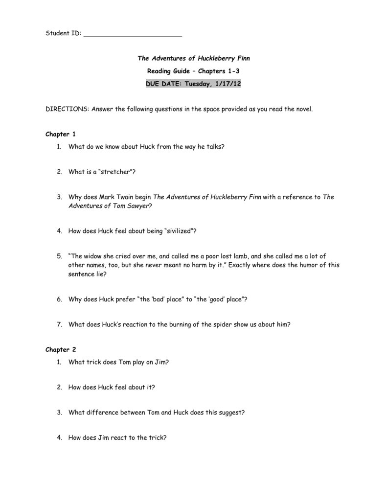 essay question on huck finn The adventures of huckleberry finn essays are academic essays for citation these papers were written primarily by students and provide critical analysis of huck finn by mark twain.
