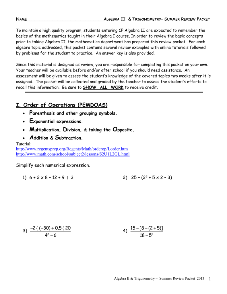 ALGEBRA II – SUMMER PACKET