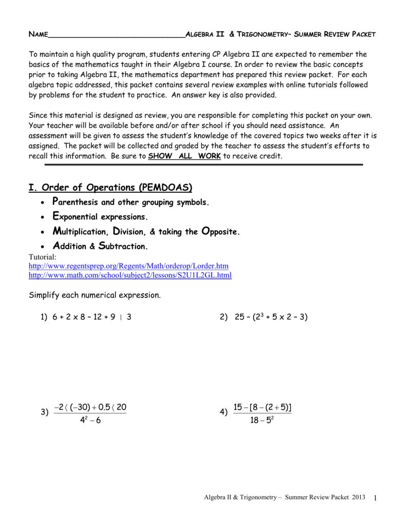 Algebra ii summer packet biocorpaavc Choice Image