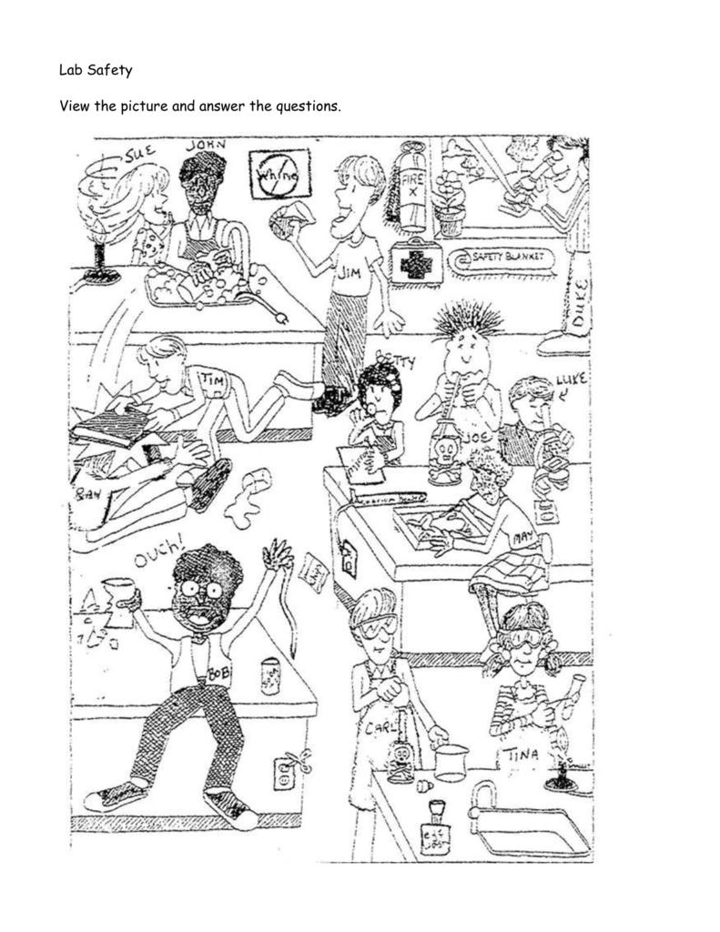 Worksheets Lab Safety Cartoon Worksheet lab safety cartoon