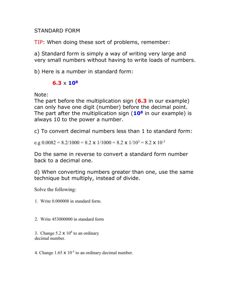 Standard form gcse maths falaconquin