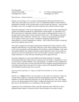 Sample letter for defenders to write to congressional representatives