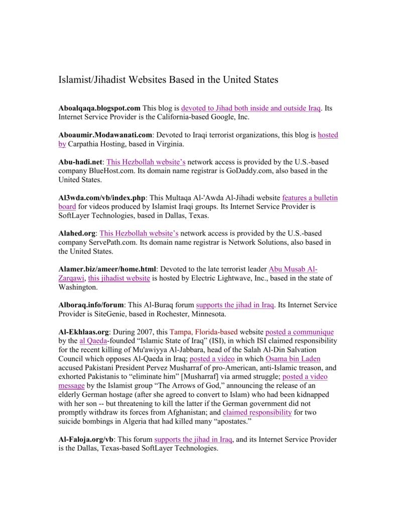 Islamist/Jihadist Websites Based in the United States