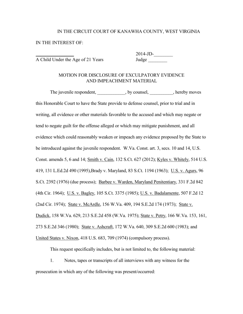 Wv Sample Brady Motion For Exculpatory Evidence