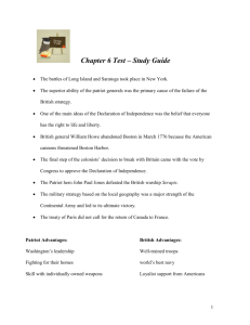 Chapter 6 Test – Study Guide The battles of Long Island and