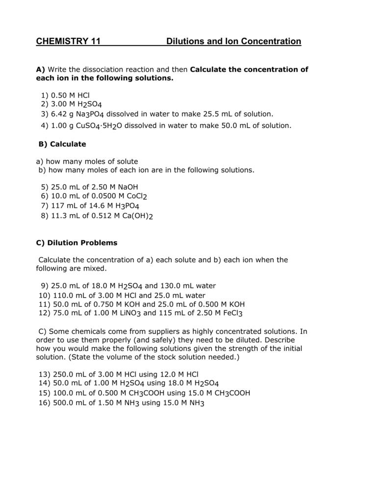 Chemistry 11 Solutions Worksheet 2