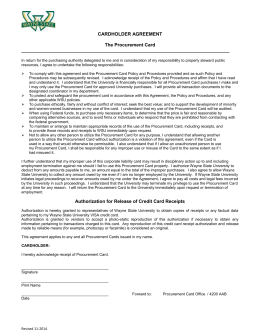 CARDHOLDER AGREEMENT The Procurement Card In return for