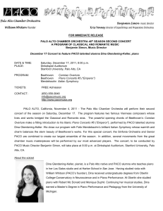 FOR IMMEDIATE RELEASE PALO ALTO CHAMBER ORCHESTRA