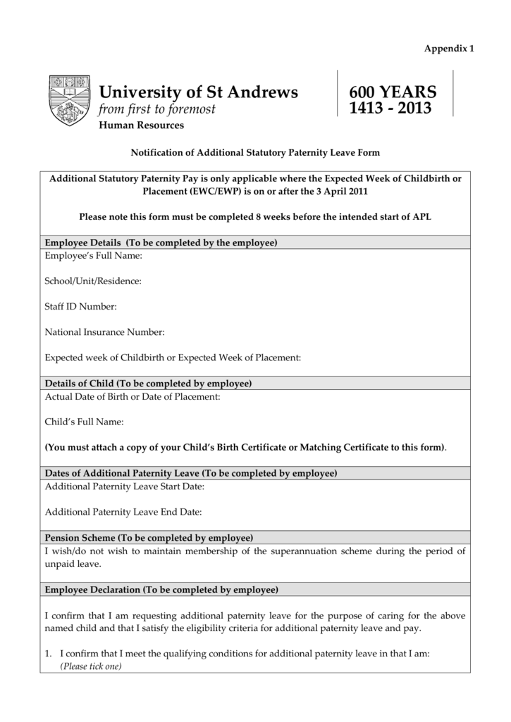 Additional Paternity Leave Application Form – Leave Application Form for Employee