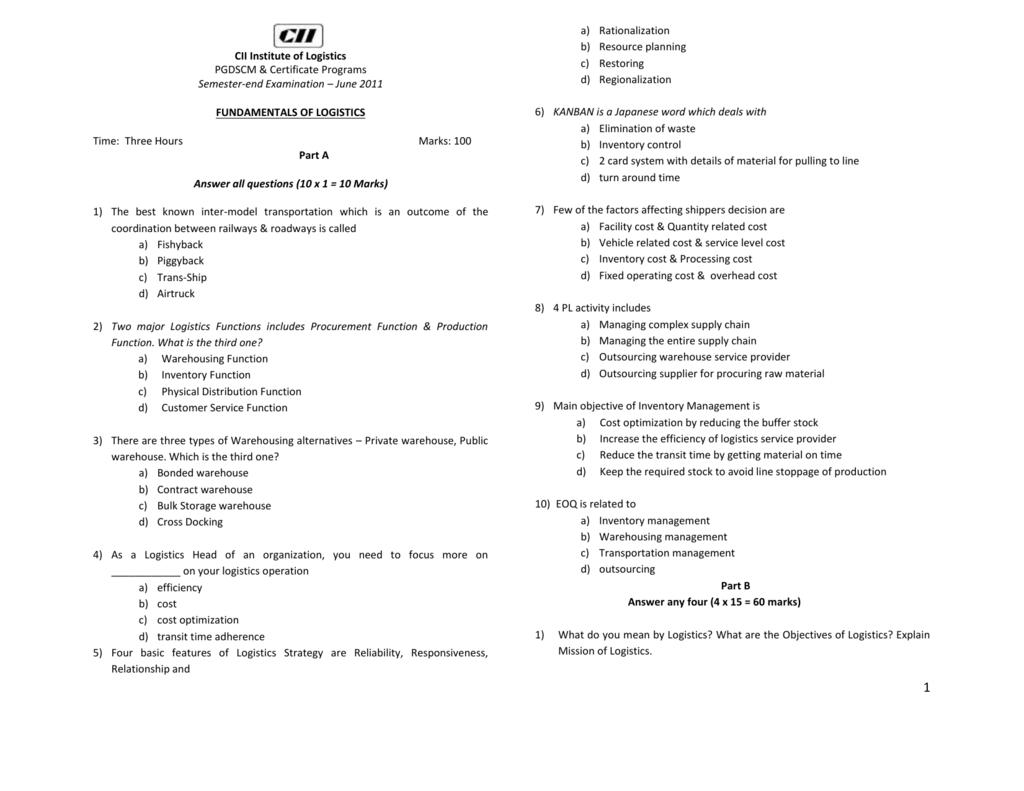 June 2011 - CII Institute of Logistics