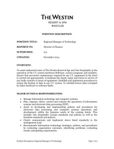 position description - The Westin Resort & Spa