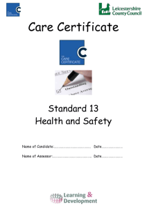 Care certificate training Standard 13