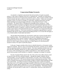 Congressional Budget Earmarks Overview