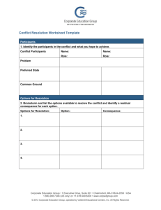 Conflict Resolution Worksheet Template