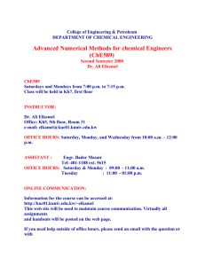 ChE 589, Advanced Numerical Methods for Chemical Engineers
