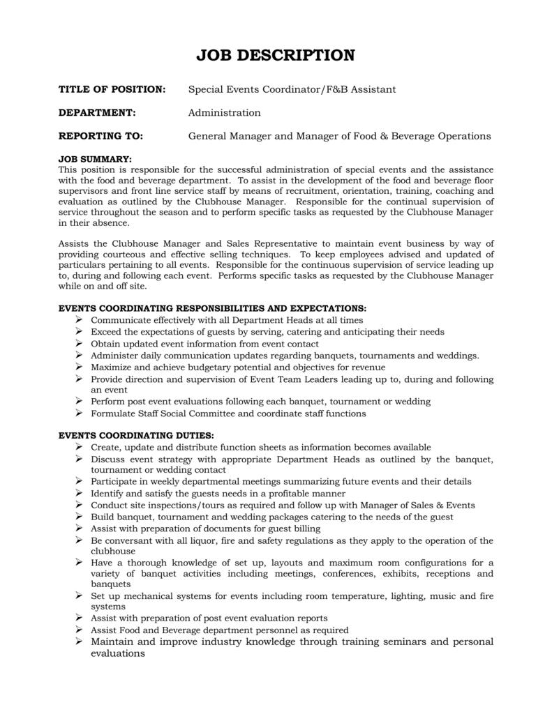 F&B Assistant / Special Events Coordinator