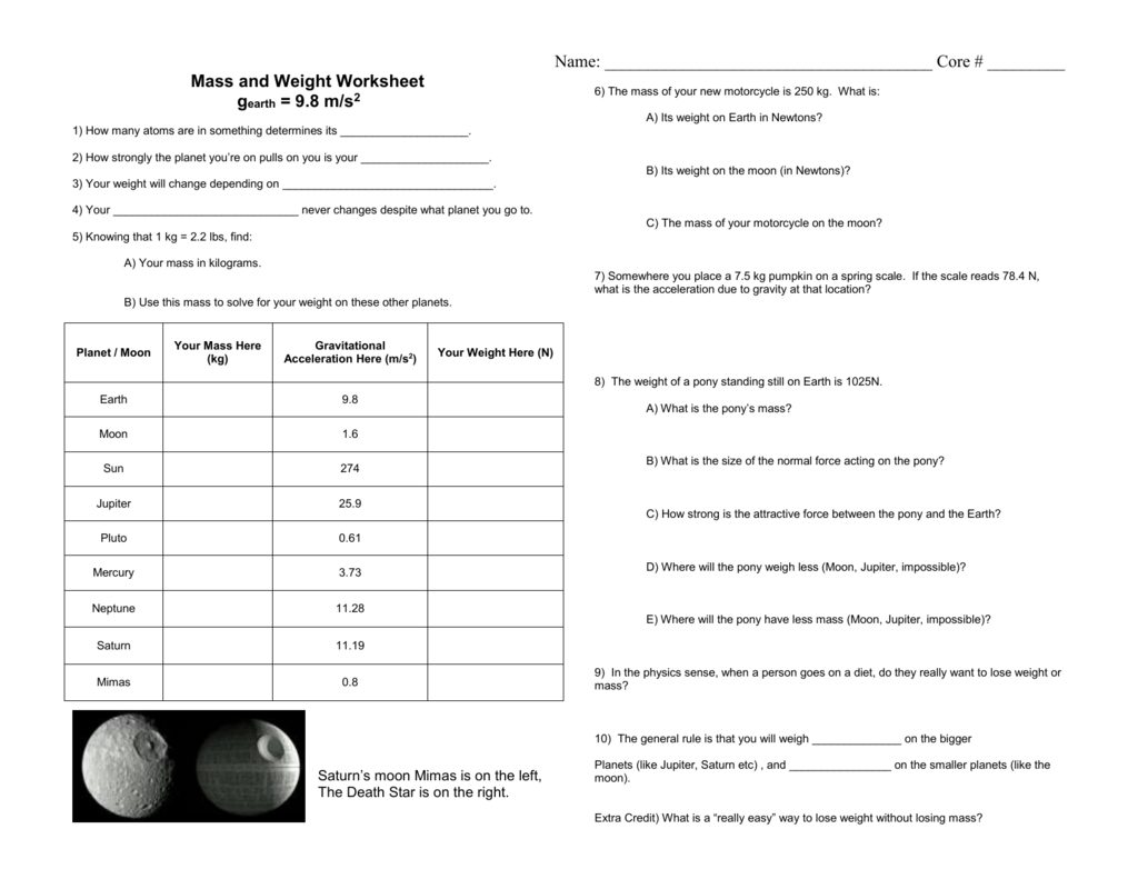 Mass And Weight Worksheet
