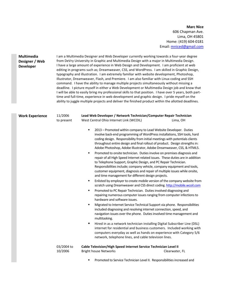 Lead web developer cover letter