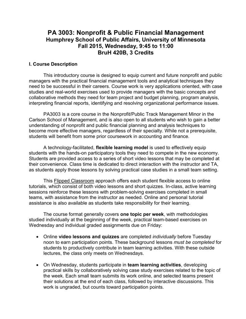 PA 3003: Nonprofit & Public Financial Management Humphrey