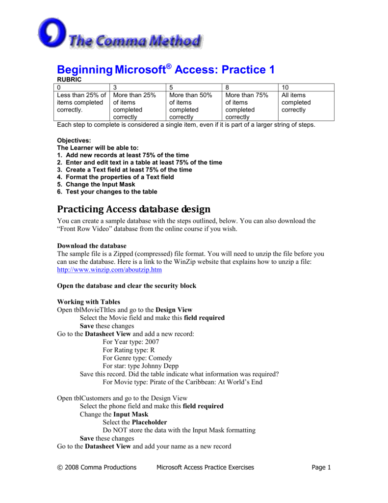 Beginning Access Practice