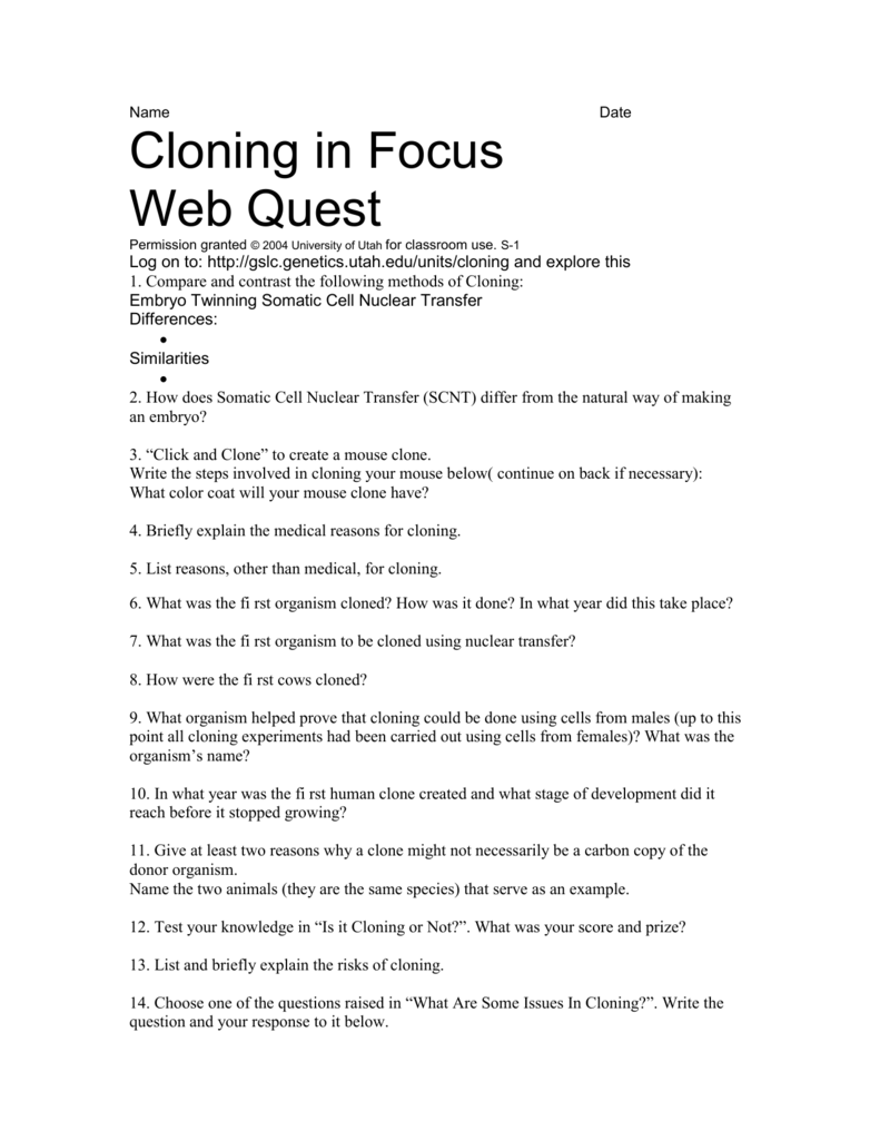 the different methods of cloning and the issues surrounding it