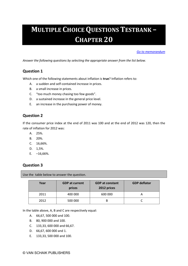 Multiple Choice Questions Testbank – Chapter 20 Go to memo