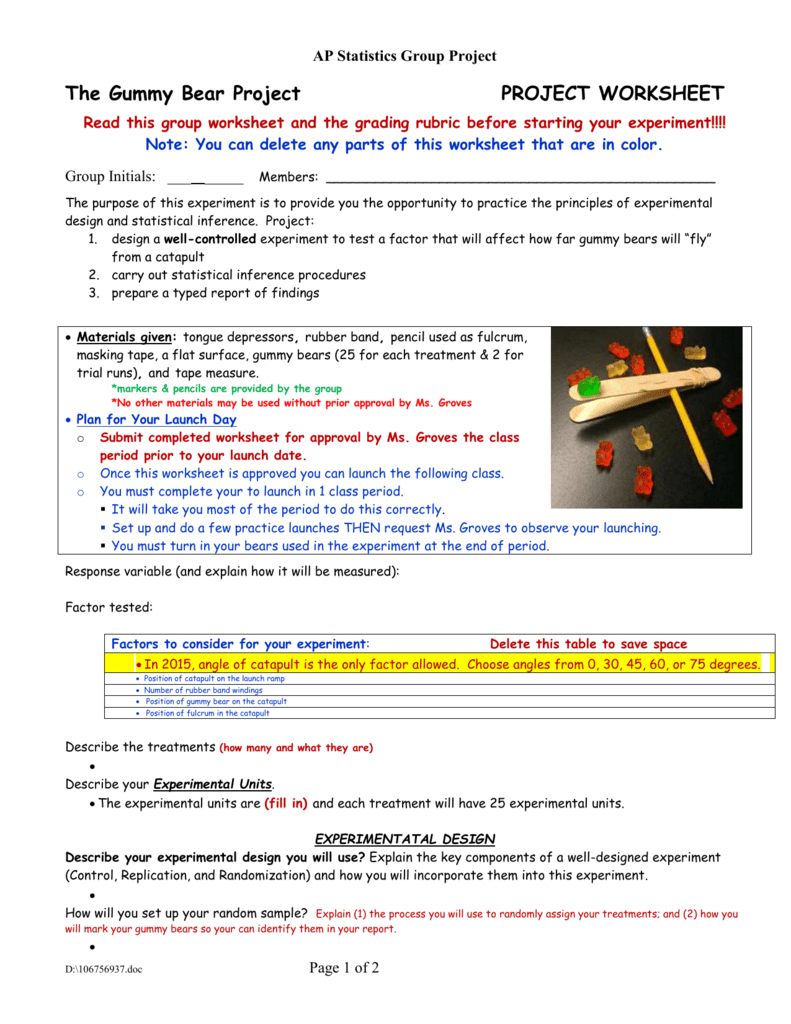 worksheet Gummy Bear Experiment Worksheet the gummy bear project worksheet