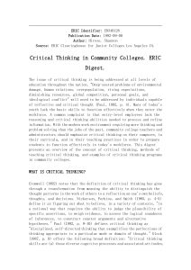 Critical Thinking in Community Colleges by