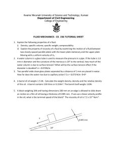 FLUID MECHANICS CE 156 Tutorial Sheet