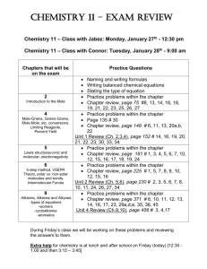 Chemistry 11 – Section A: Monday, January 28th