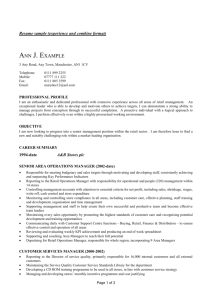 Resume sample (experience and combine format) - CV