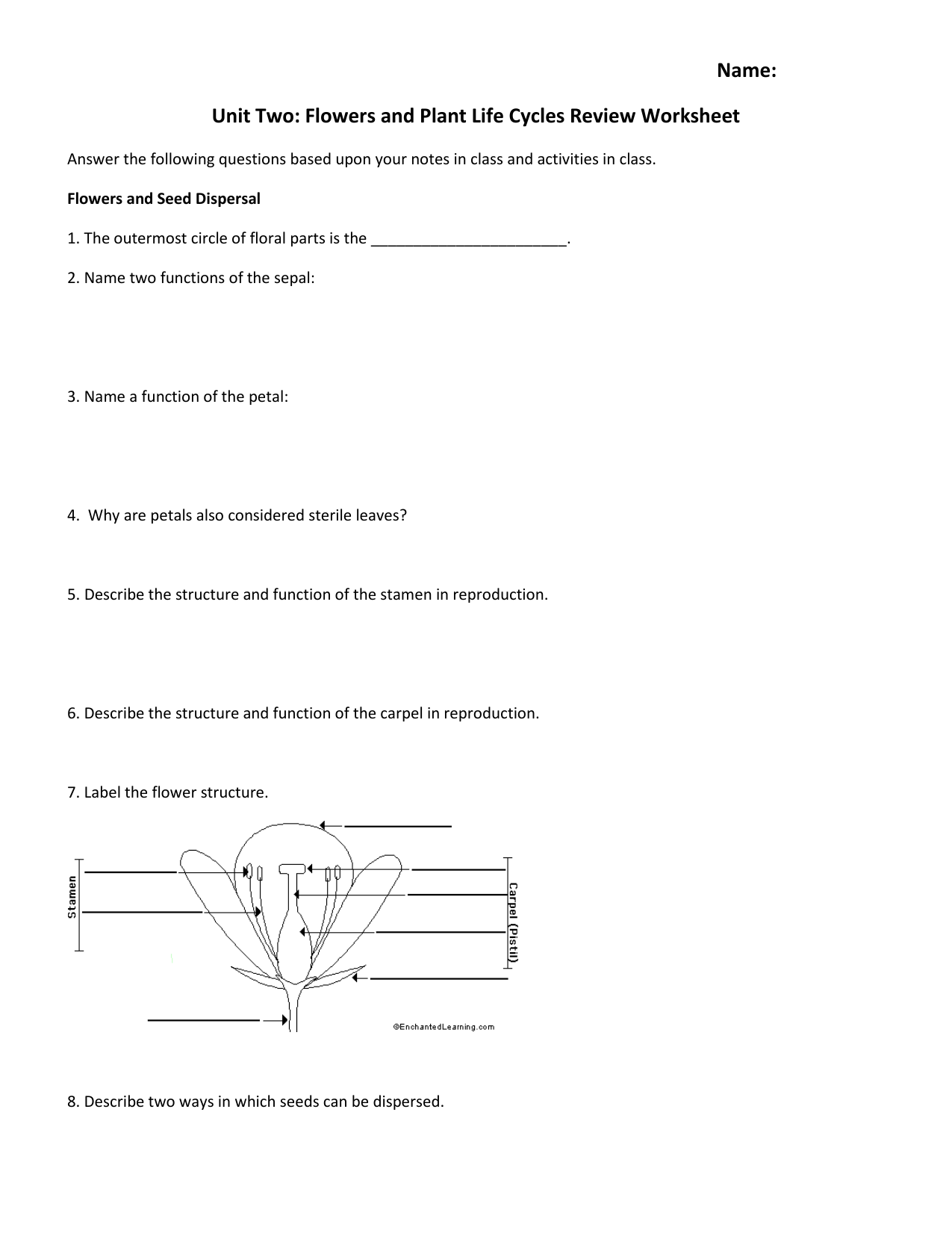 name unit two flowers and plant life cycles review worksheet. Black Bedroom Furniture Sets. Home Design Ideas
