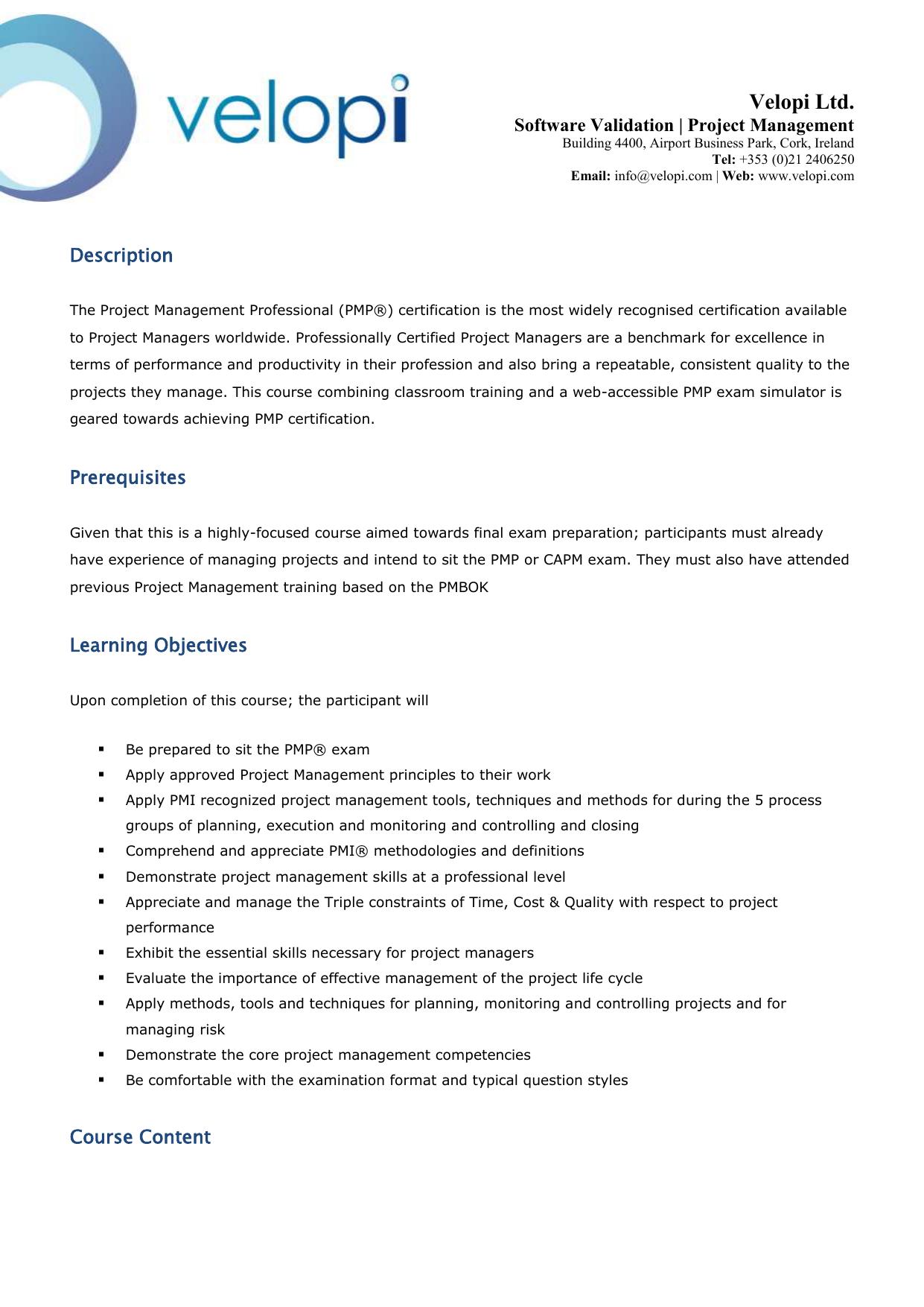 Description The Project Management Professional Pmp