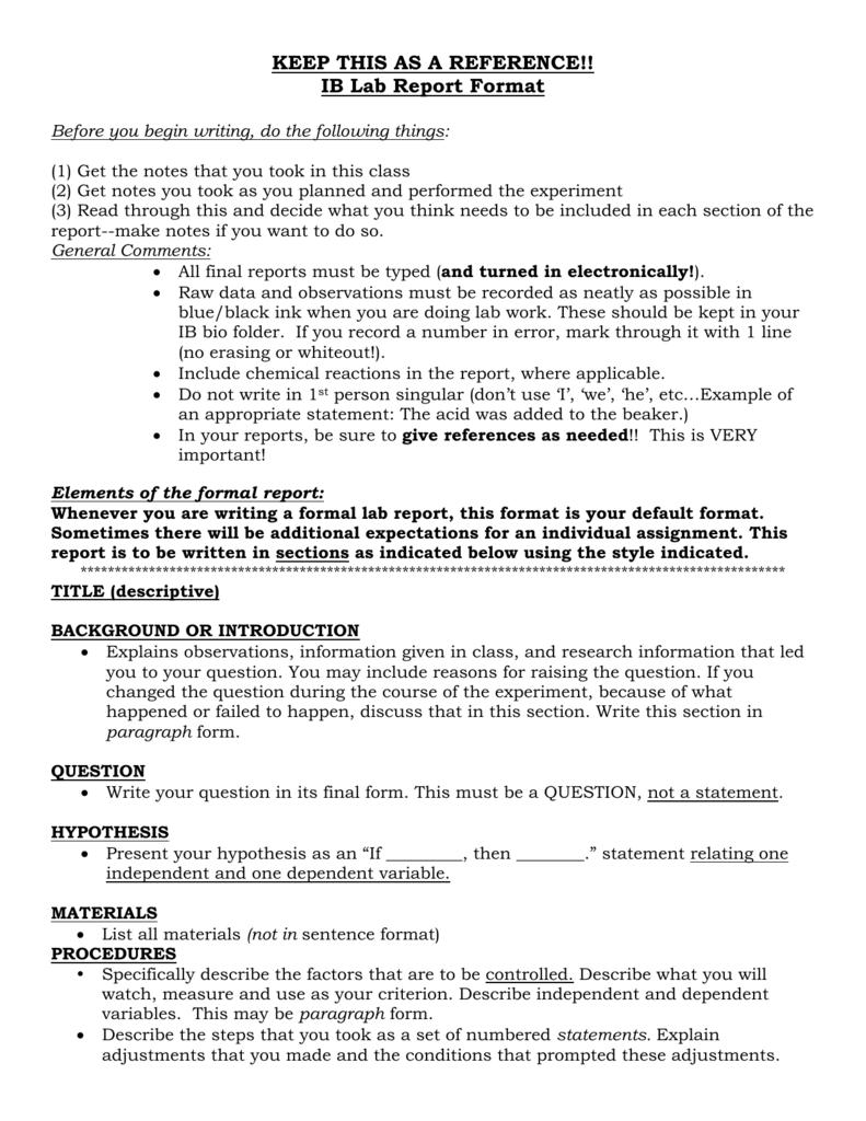 ap ib lab report format