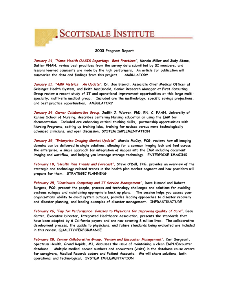2003 Program Summary - Scottsdale Institute