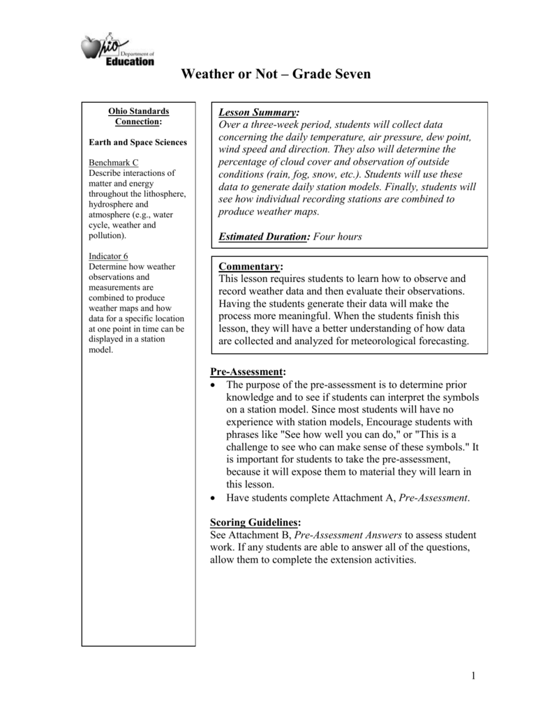 Weather Worksheet - ODE IMS - Ohio Department of Education