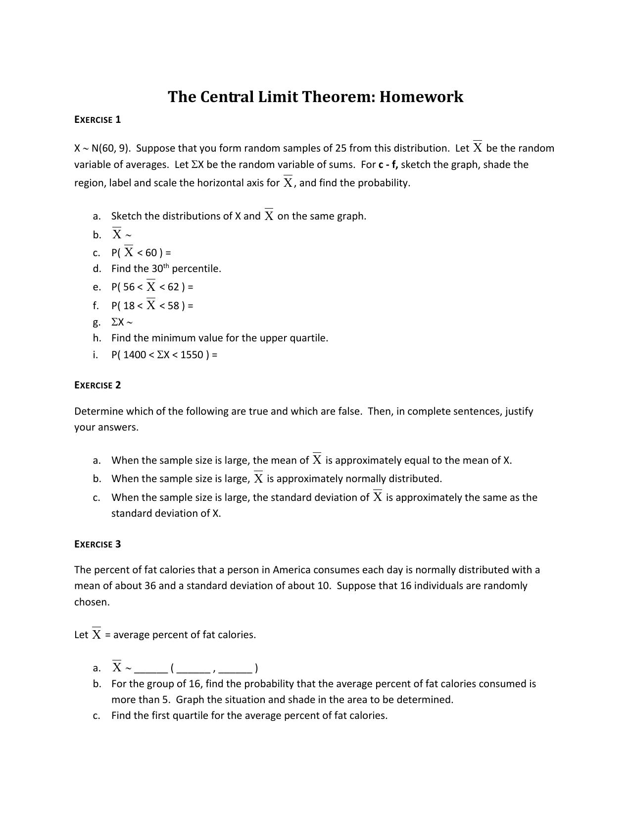 The Central Limit Theorem Homework