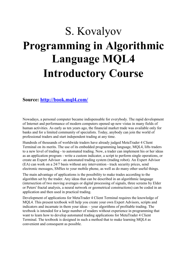 Practical Programming in MQL4