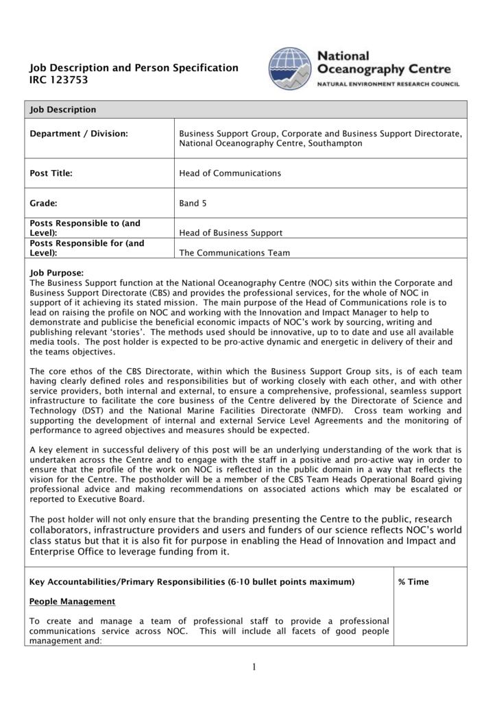 Job Description And Person Specification Hr5
