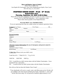 WILDCAT MINI CHEER CAMP Registration Form