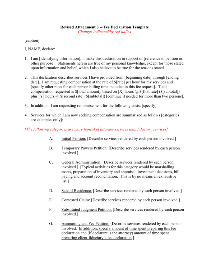 Declaration Template from s3.studylib.net