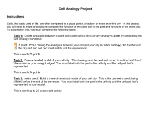 Cell Analogy Worksheet