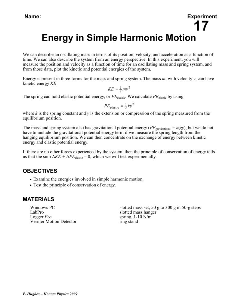 Energy in Simple Harmonic Motion - Physics-Hughes-RHS-09-10