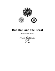 Babalon & the Beast - The Gnostic Church of LVX