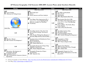 Geographical Perspectives Unit Fall 2008 Calendar