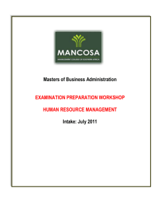Masters of Business Administration EXAMINATION PREPARATION
