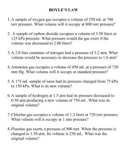 Chap 12 Boyle S Law Worksheet Boyle S Law Wksht 12