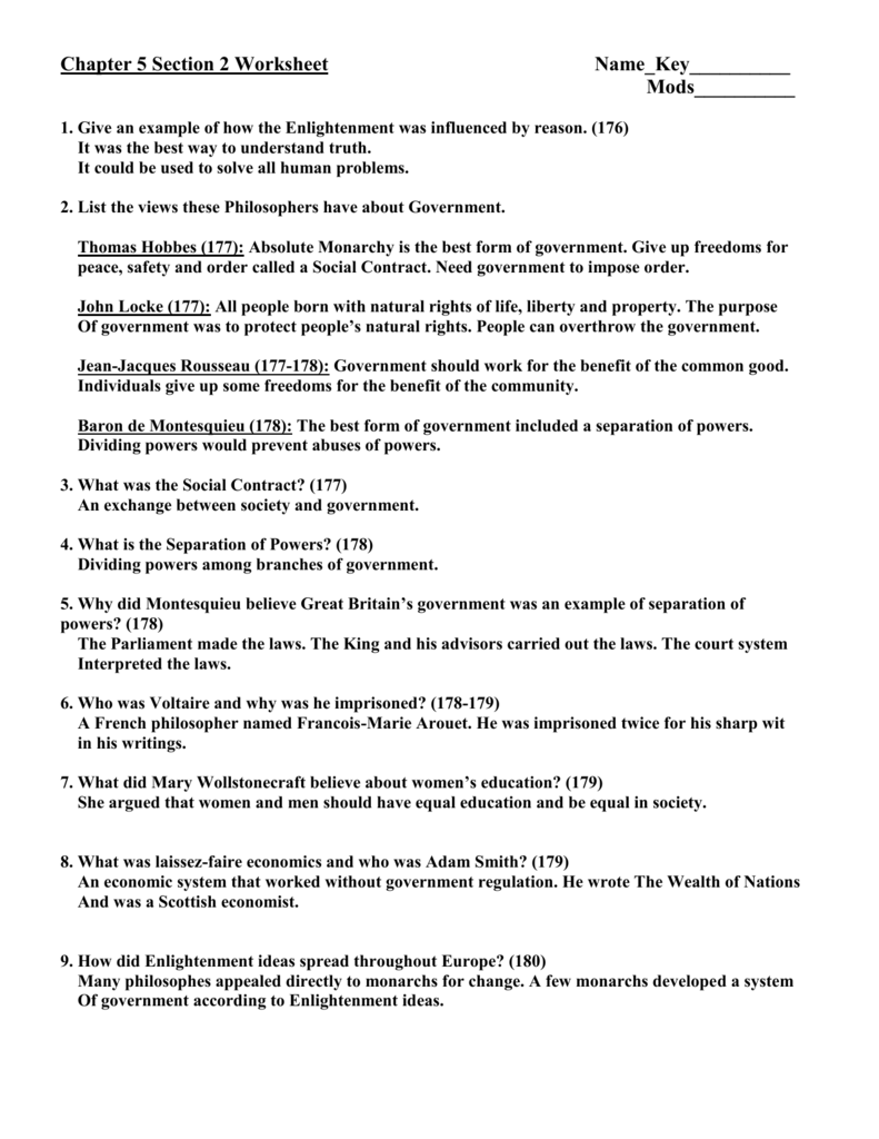 Chapter 5 Section 2 Worksheet