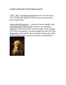 1789 – May, The Estates General met for first time